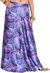 Blue-Yonder Wrap-Around Skirt with Printed Paisleys
