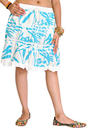 White and Blue Printed Short Skirt with Lace