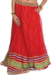 Chinese-Red Wedding Long Ghagra with Embroidered Patch Border and Sequins