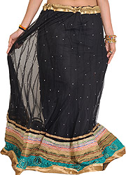 Jet-Black Designer Long Ghagra with Embroidered Patch Border and Bootis
