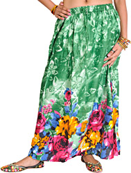 Medium-Green Skirt with Printed Roses