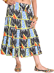 Black and Blue Midi Skirt with Patchwork