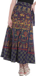 Medieval-Blue Wrap-Around Long Skirt from Pilkhuwa with Animal Print