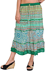 Simply-Green Midi Skirt with Printed Flowers