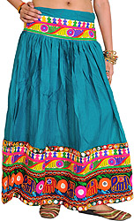 Fanfare-Green Ghagra Skirt from Kutch with Embroidered Patch Border