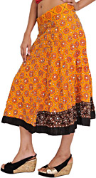 Blazing-Orange Midi Lehenga Skirt with Beads-Embroidered Flowers and Sequins All-Over