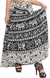Black and White Wrap-Around Skirt from Pilkhuwa with Printed Elephants