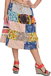 Multicolor Midi Skirt from Gujarat with Printed Flowers and Patchwork