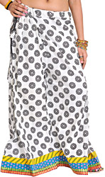 White and Black Casual Palazzo Pants from Pilkhuwa with Printed Bootis and Patch Border