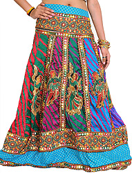 Cyan-Blue Leharia Printed Ghagra Skirt from Gujarat with Embroidered Folk Motifs and Large Sequins