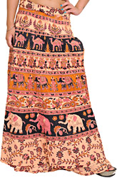 Wrap-Around Skirt from Pilkhuwa with Printed Camels and Elephants