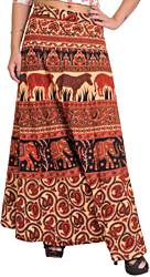 Sunburst and Red Wrap-Around Skirt from Pilkhuwa with Printed Animals