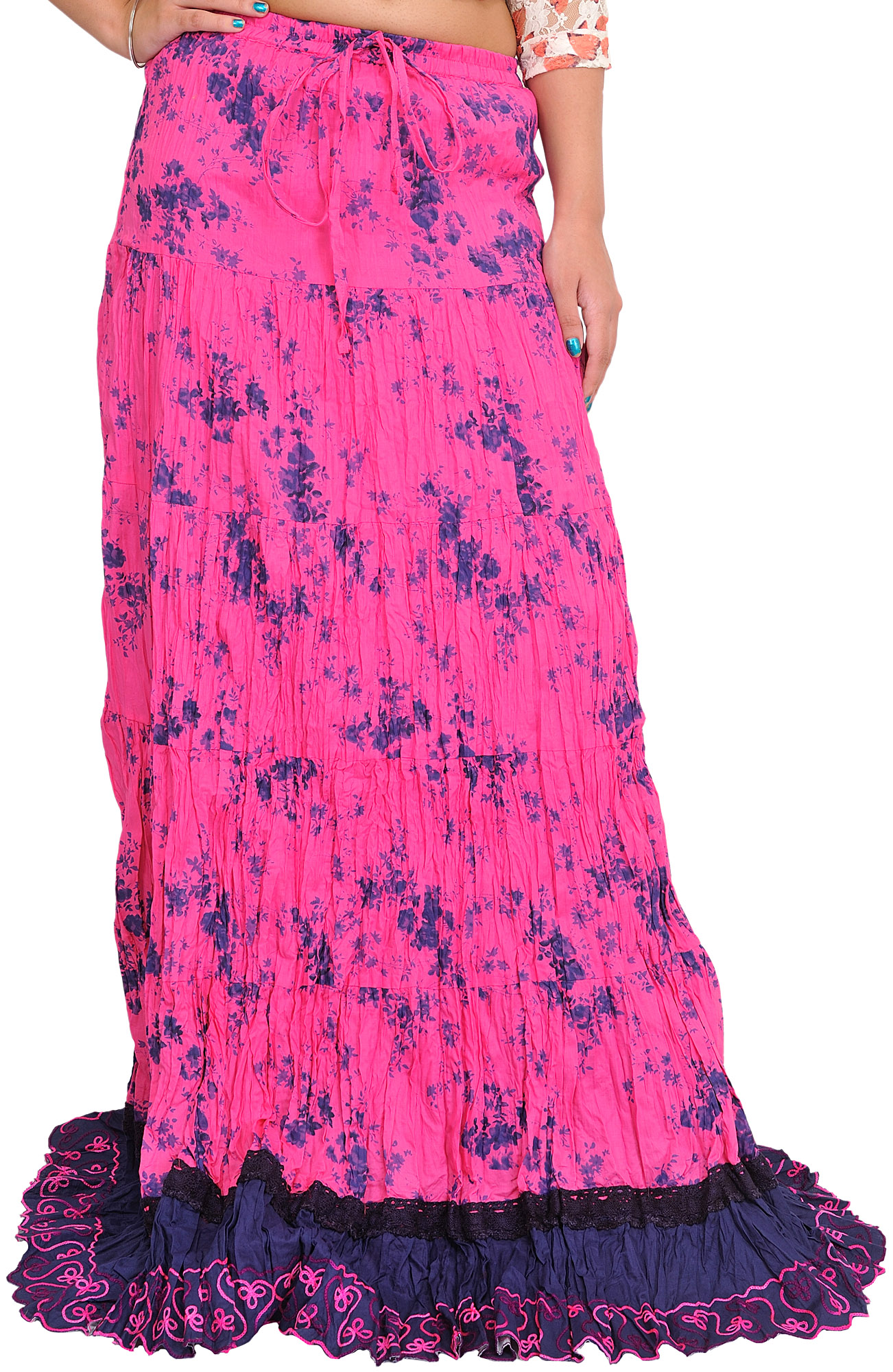 azalea pink and blue floral printed crinkled skirt