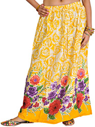 Banana-Yellow Long Skirt with Printed Roses