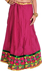 Magenta-Haze Plain Ghagra Skirt with Embroidered Patch Border and Mirrors