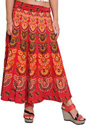 Rococco-Red Wrap-Around Midi Skirt from Pilkhuwa with Printed Motifs