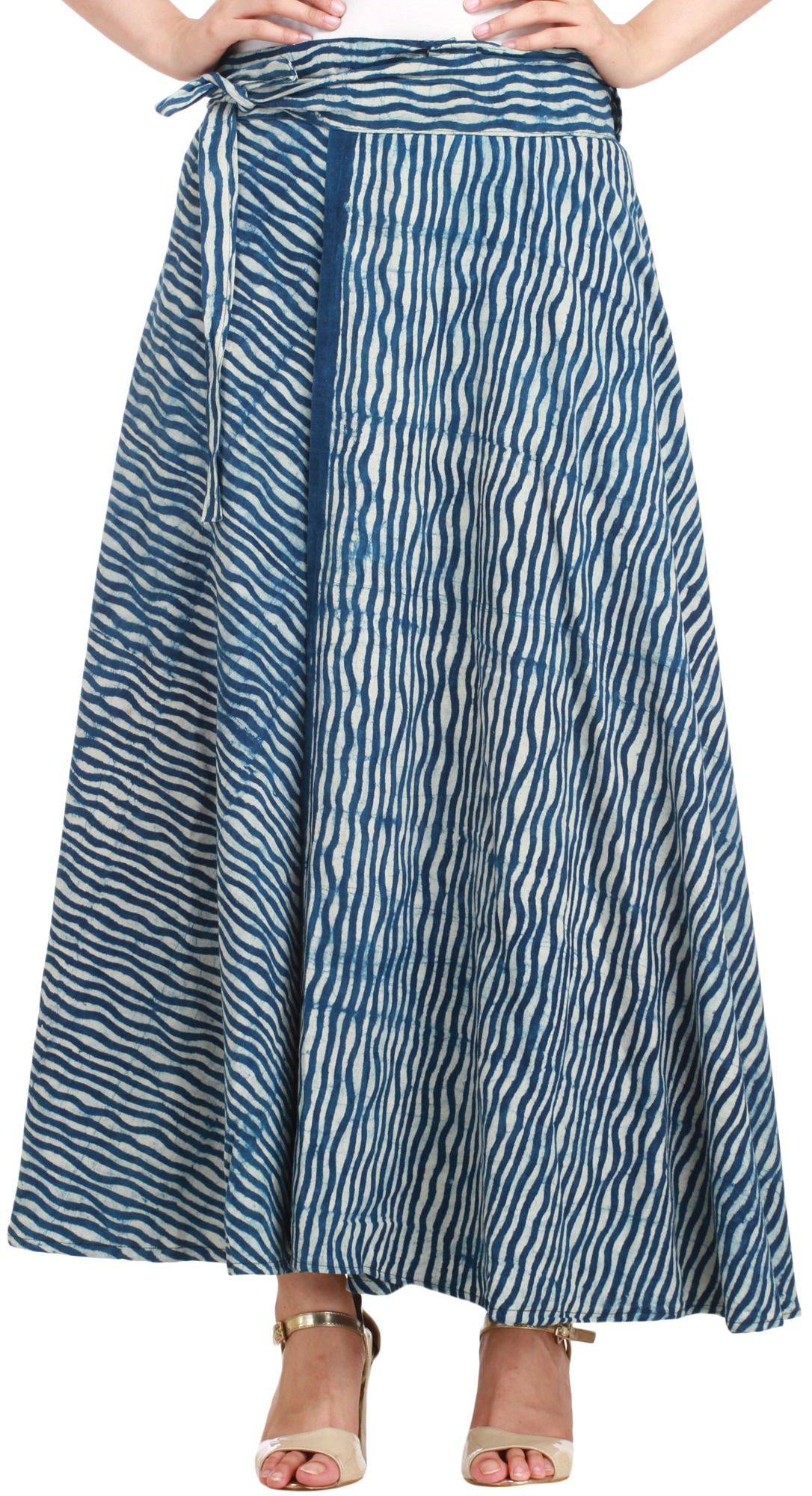 ensign blue wrap around leheria skirt from pilkhuwa with