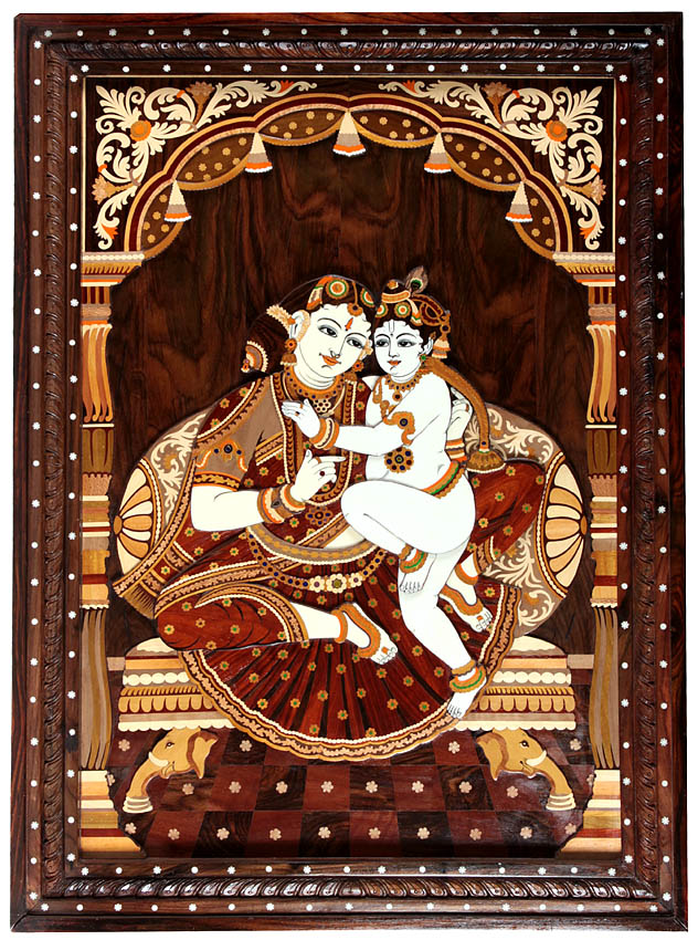 Baby Krishna in the Lap of Mother Yashoda (Framed)