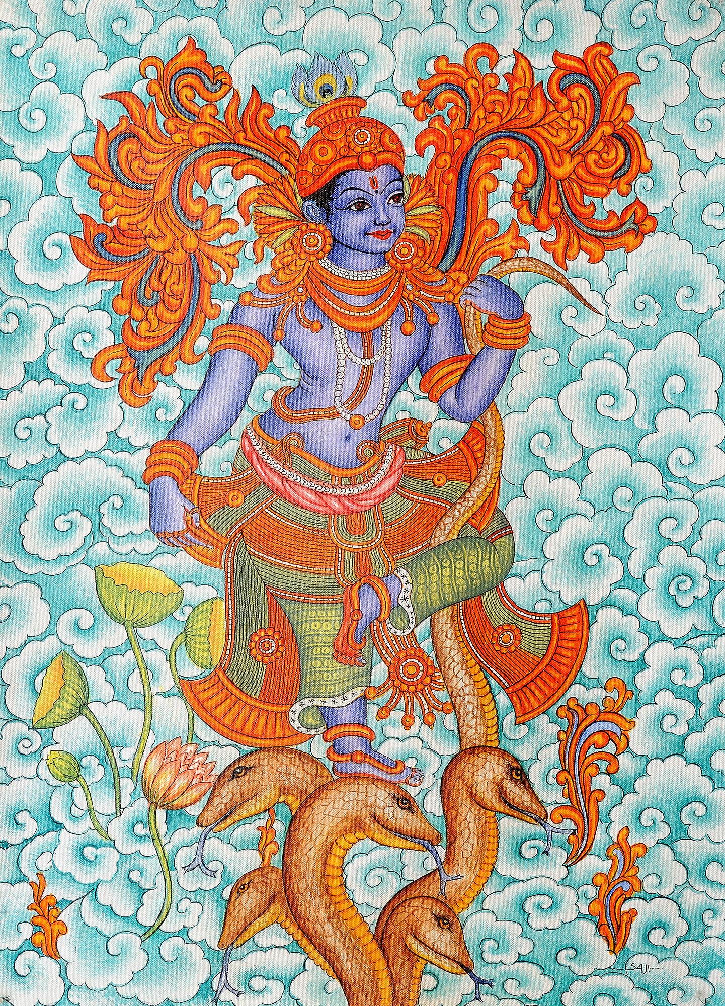Bhagawan krishna for Aithihya mural painting fabrics