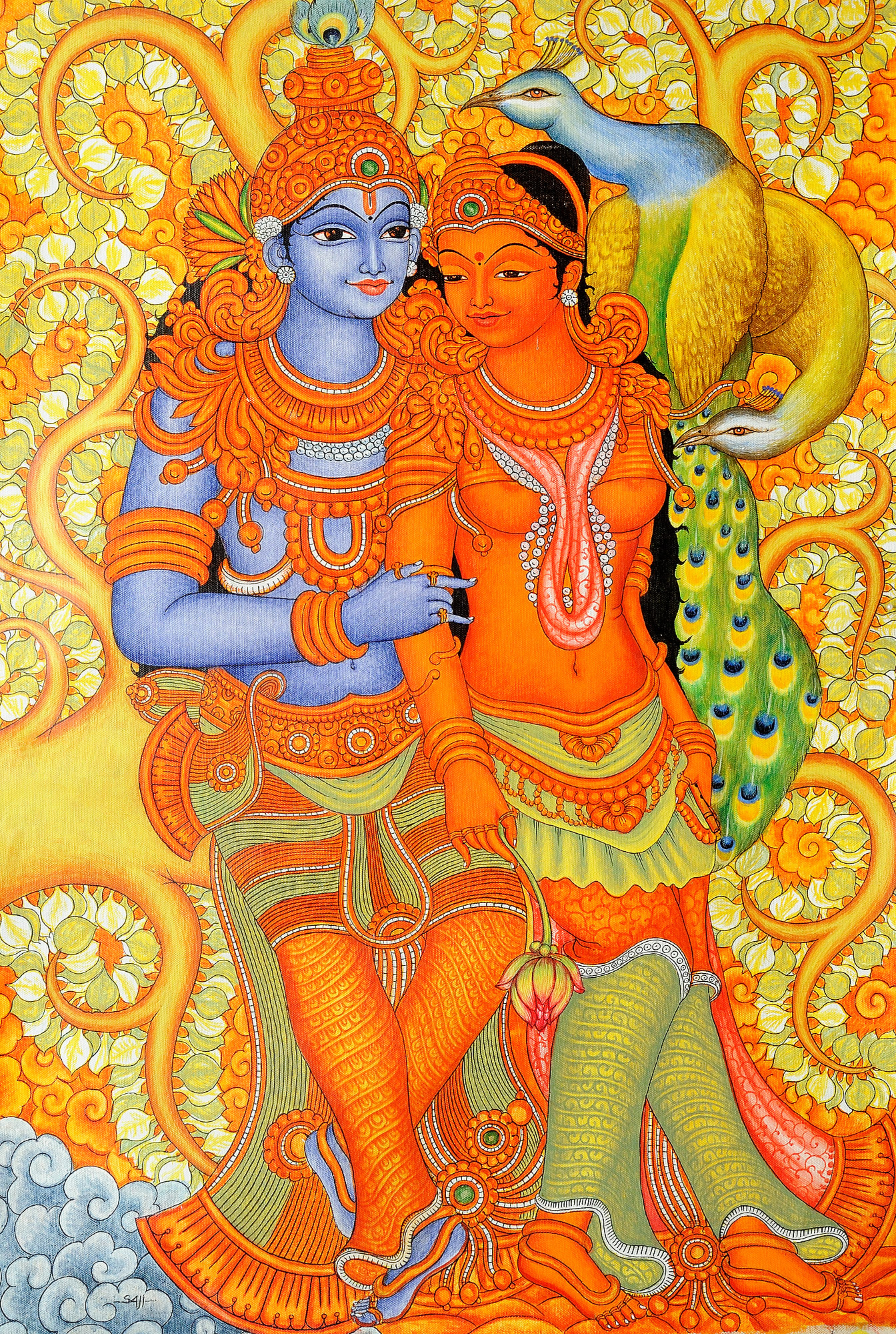 Radha krishna with peacock pair for Mural radha krishna