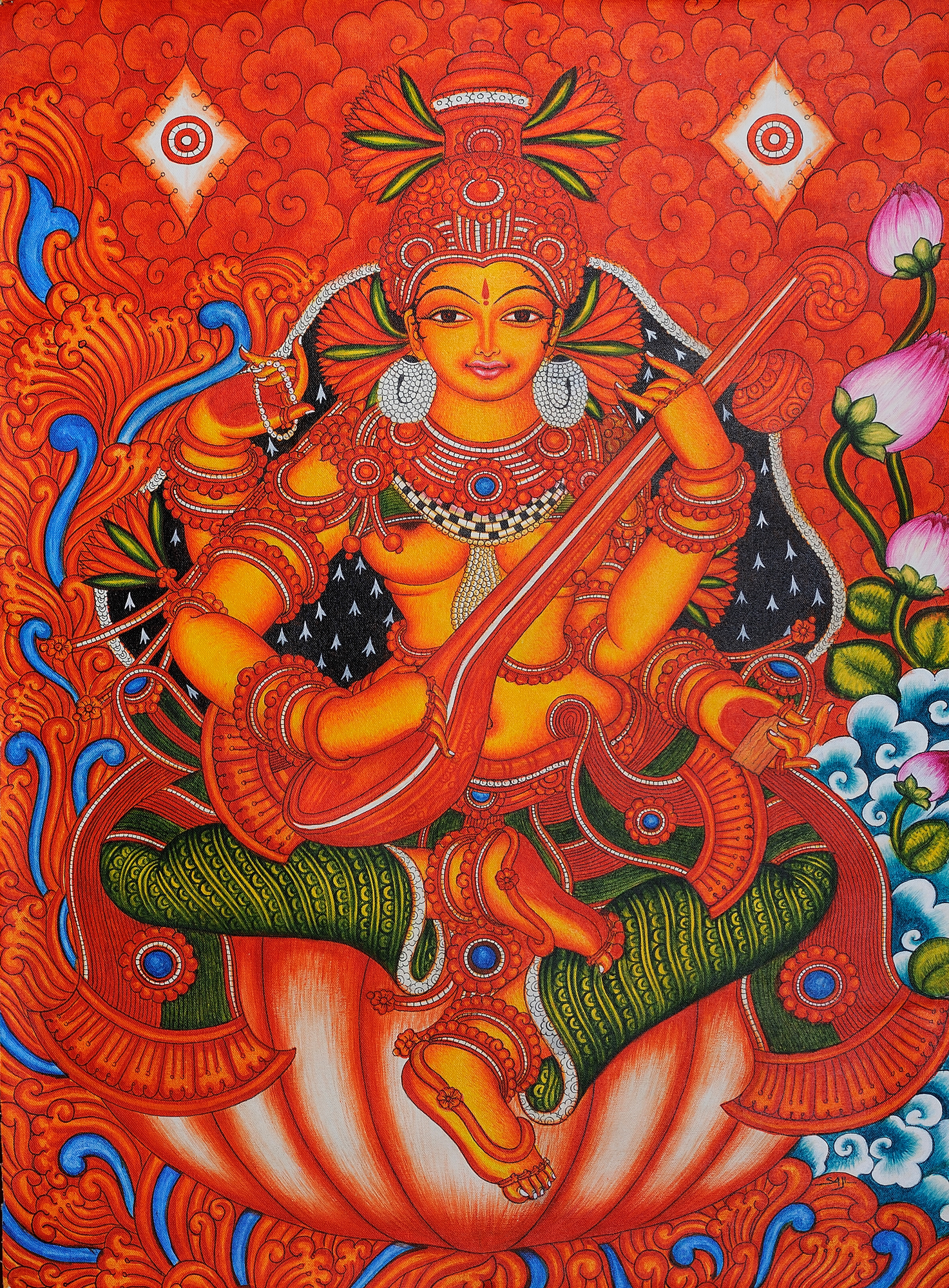 Goddess saraswati for Buy kerala mural paintings online