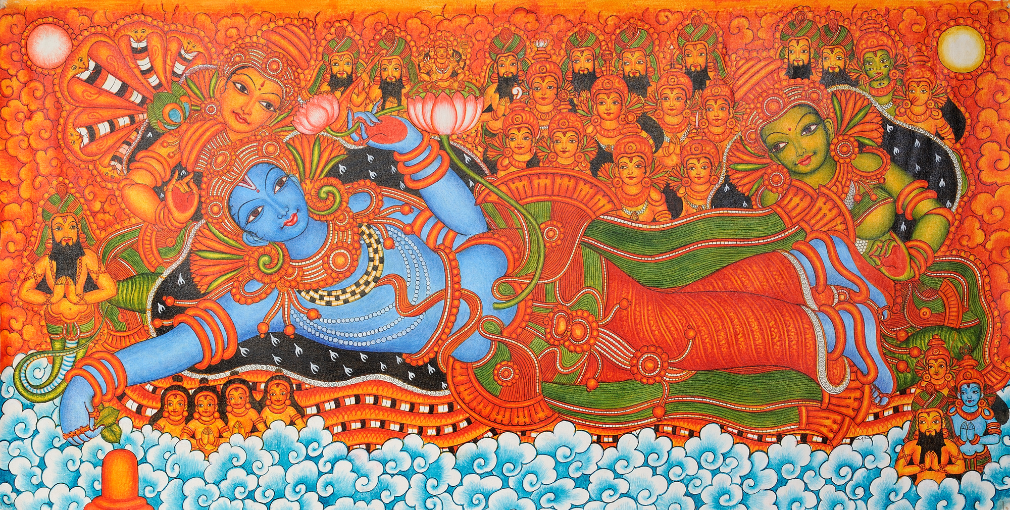 Kerala mural paintings designs joy studio design gallery for Ananthasayanam mural painting
