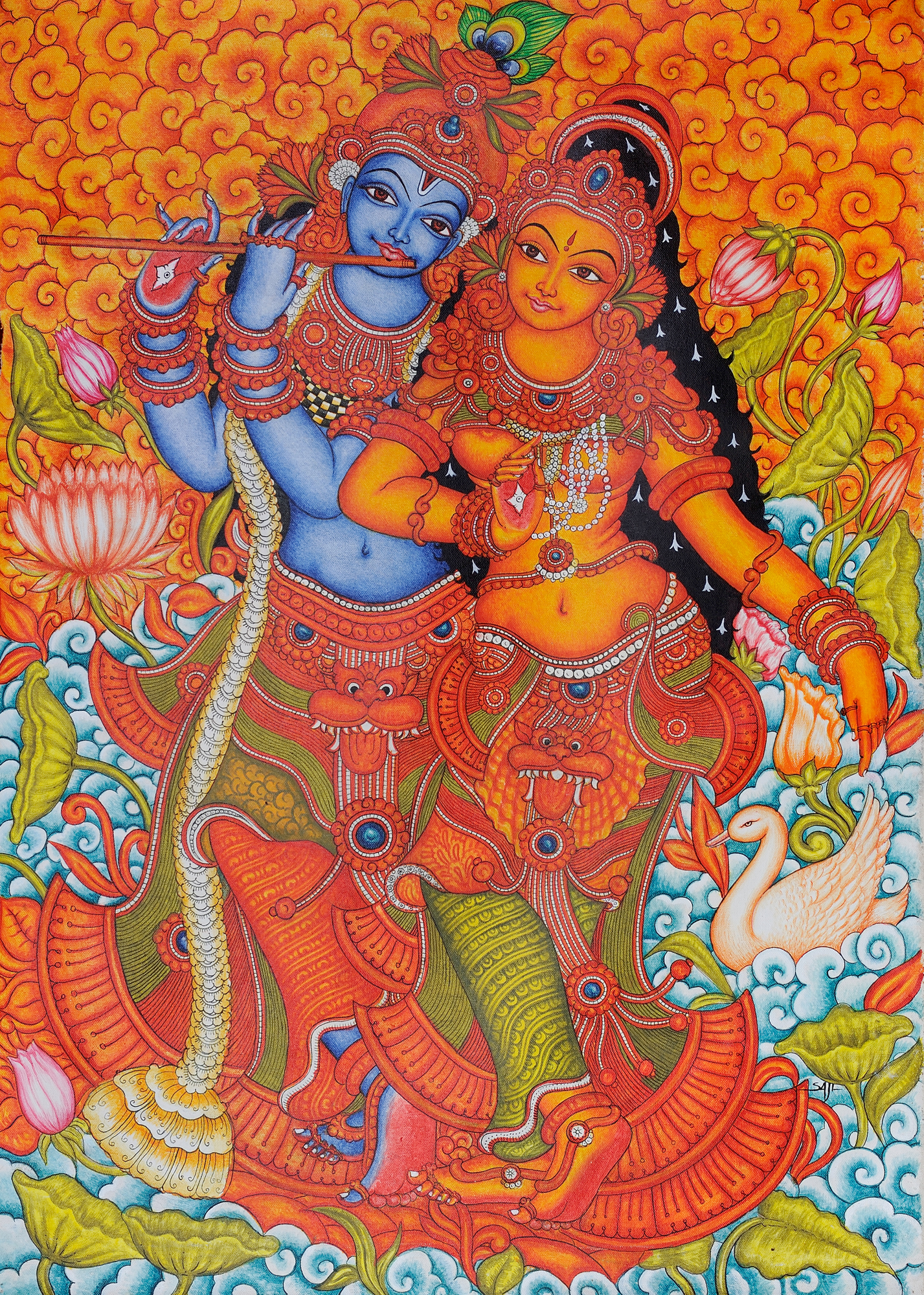 Radha krishna for Acrylic mural painting techniques