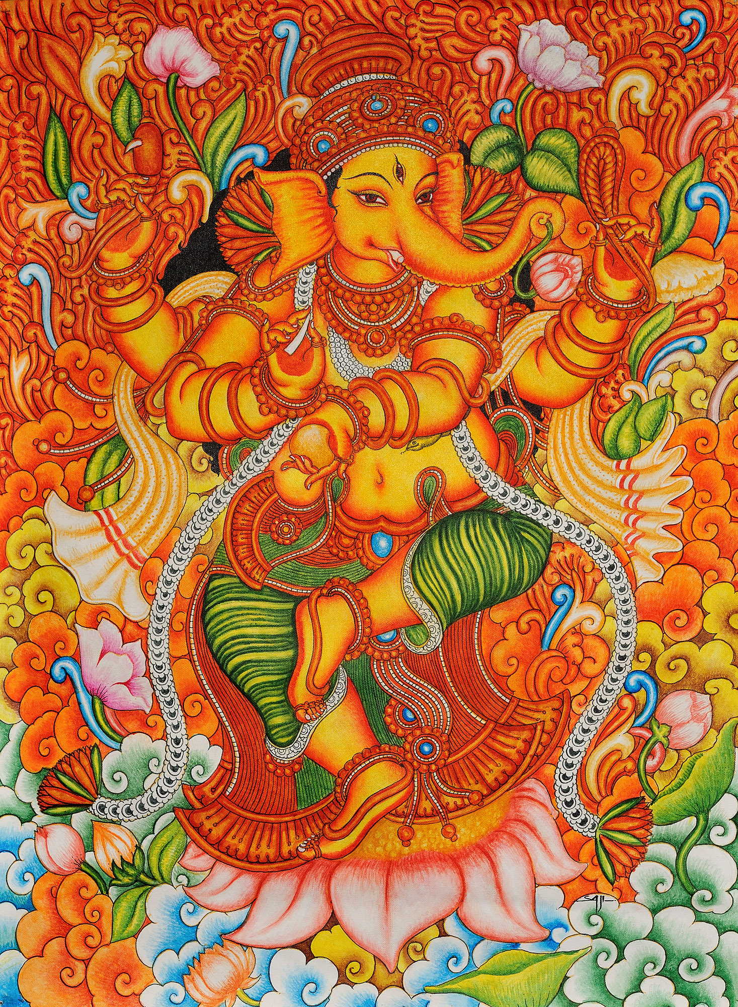 Lord ganesha dancing on lotus for Cost of mural painting
