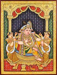 Shri Krishna with Rukmini and Satyabhama