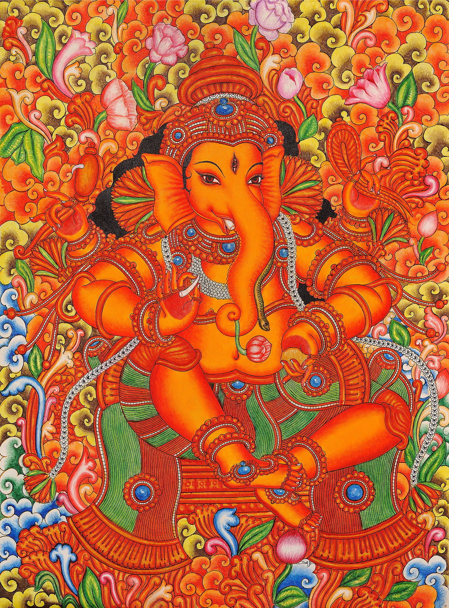 Lord ganesha in the style of mattanchery palace murals for Buy kerala mural paintings online