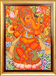 Lord Ganesha Dancing on Lotus (Framed)