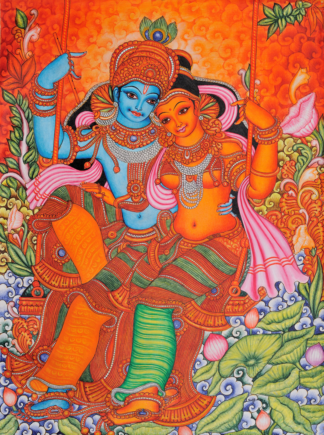 Radha and krishna on swing kerala folk style for Best mural artists