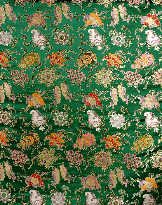 Green Brocade with Ashtamangala Symbols