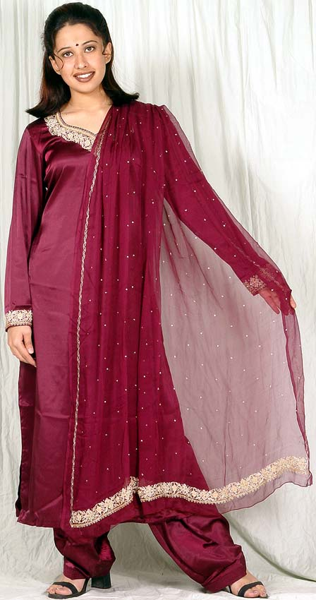 Satin Silk Salwar Suit - Hardon Clothes