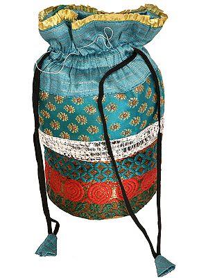 Drawstring Potli Bag with Brocade Weave