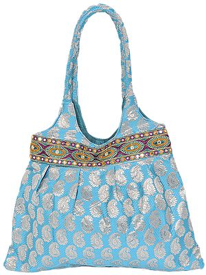 Brocaded Shopper Bag with Woven Paisleys and Embroidered Patch Border