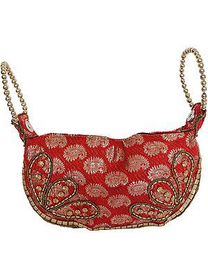 Bracelet Bag with Brocade Weave and Beadwork