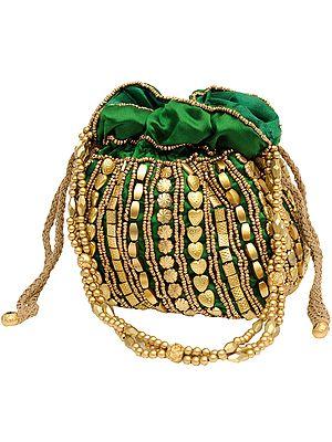 Potli Drawstring Bag with Dense Beadwork by Hand