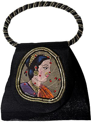 Bracelet Bag with Beadwork and Painted Lady Figure on Fig Leaf