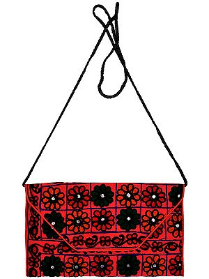 Clutch Bag from Jaipur with Crewel Embroidered Flowers and Mirrors