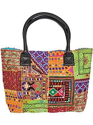 Multicolor Shopper Bag from Kutch with Embroidered Patches and Mirrors