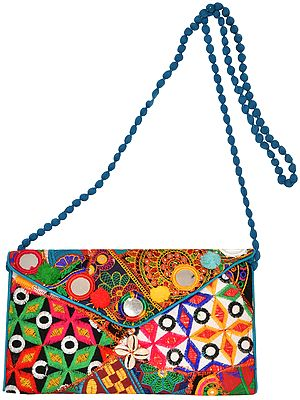 Multicolored Embroidered Clutch Bag with Front Flap and Large Mirrors