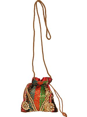 Drawstring Potli Bag with Zari-Weave and Embroidered Beads