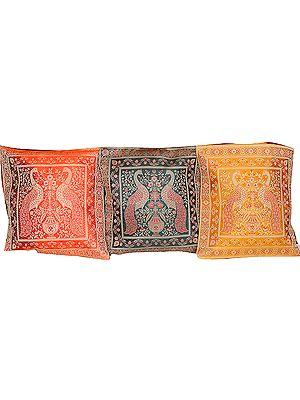 Lot of Three Peacock Cushion Covers from Banaras