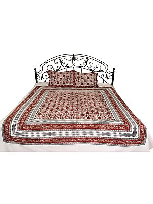 Bedsheet from Pilkhuwa with Block-Printed Elephants
