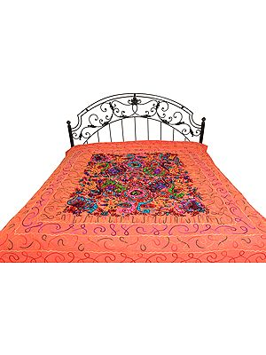 Bedspread from Gujarat with Embroidered Animals