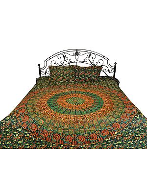 Bedsheet from Pilkhuwa with Printed Giant Mandala