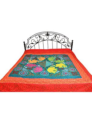 Gujarati Bedspread with Embroidery and Appliqué Elephants