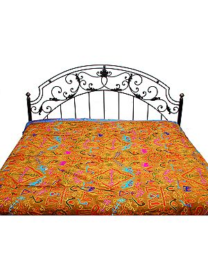 Gujarati Bedspread with Metallic Thread Embroidered Folk Motifs