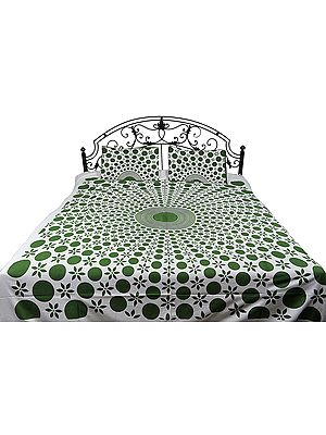 Bedspread from Pilkhuwa with Printed Mandala and Flowers